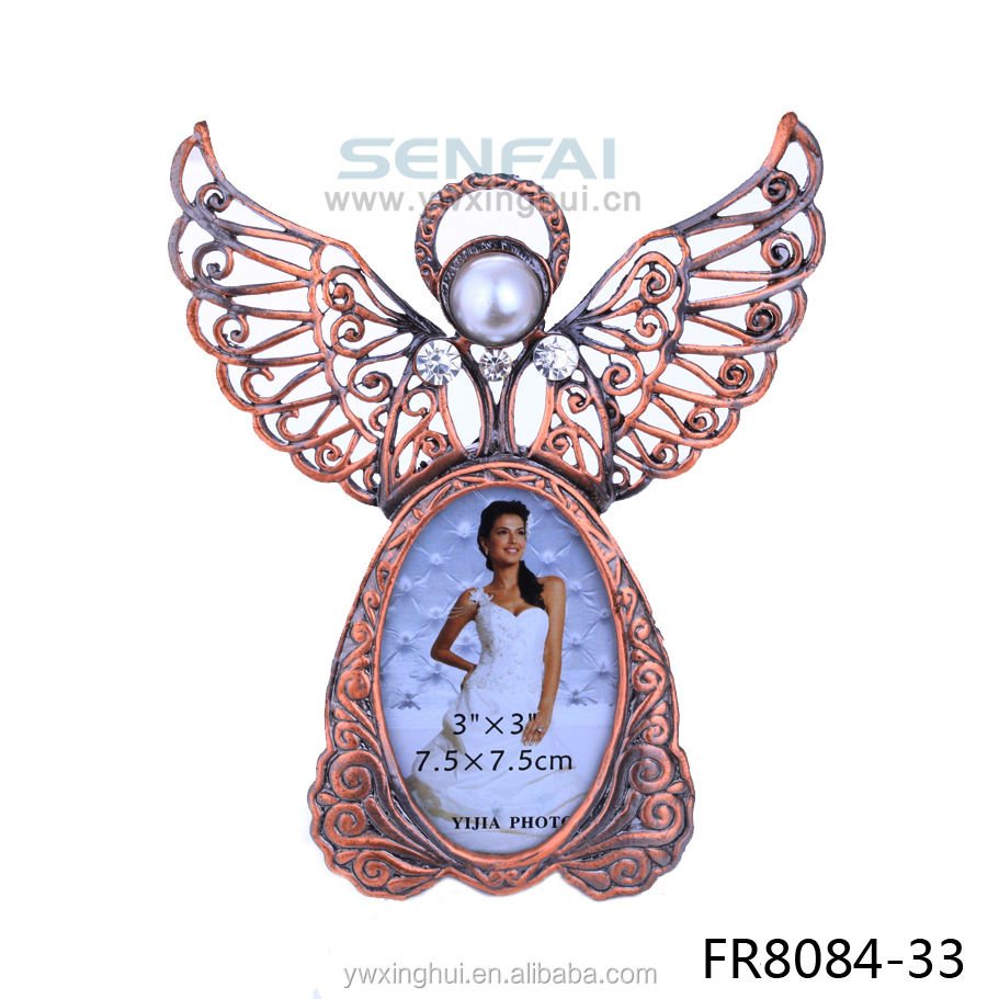 Fashion jewelry wholesale metal angel photo frame for baby