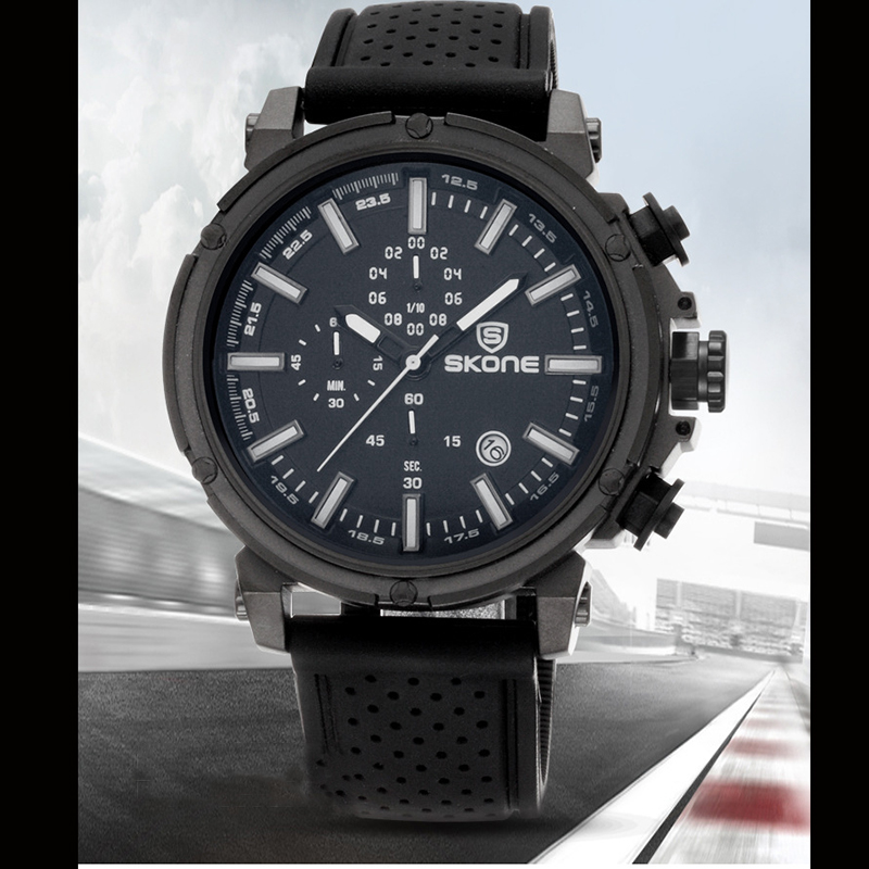 SKONE 5145 military style functional chronograph men watch with great dial
