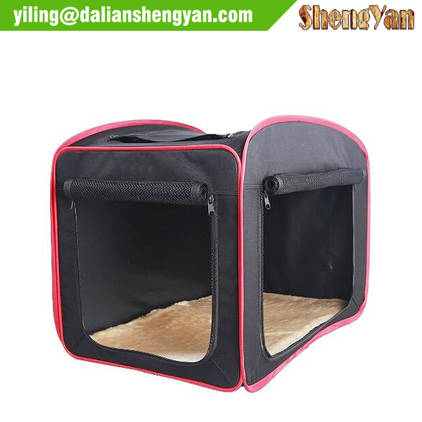 Portable pop open fabric dog kennel