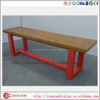 wood long bench, wood clothes clothing table shoe display show display table