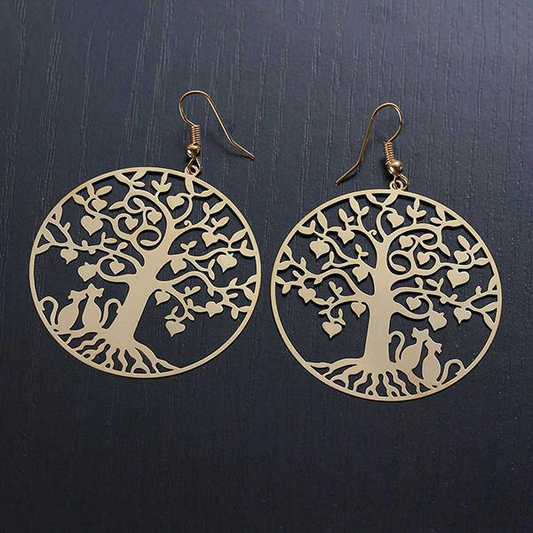 New Fashion Round Gold Plated Tree Carved Hollow Ear Wire Hooks Copper Filigree Stamping Earrings
