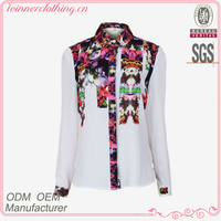 Fashion blouses 2015 new designed stand collar ladies high fashion tops