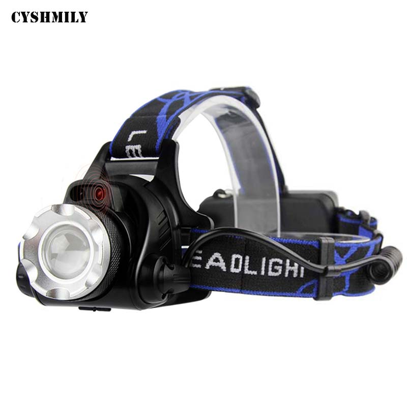 CYSHMILY XM-L T6 Camping Portable Novelty LED Light Head Lamp,Hunting Rechargeable Infrared Sensor Induction Switch LED Headlamp