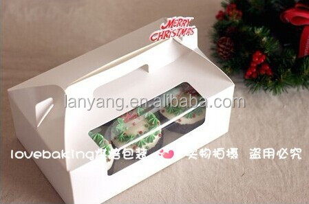Wholesale cheap Cupcake boxes , Mini cake boxes with window for 2, 4, 6 packs with inserts(BF187)