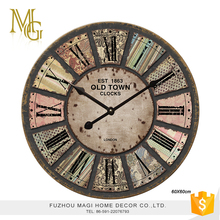 French style wooden creative sun shaped wall clock