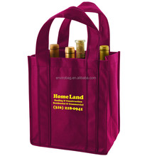 Factory supply reusable fashion 6 bottle 600D polyester red wine bag