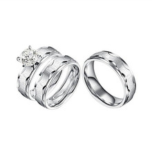 Yiwu Meise 3 Piece Rings His and Hers Wedding Set, Brushed Stainless Steel Wedding Engagement Ring Band Sets for Women and Men