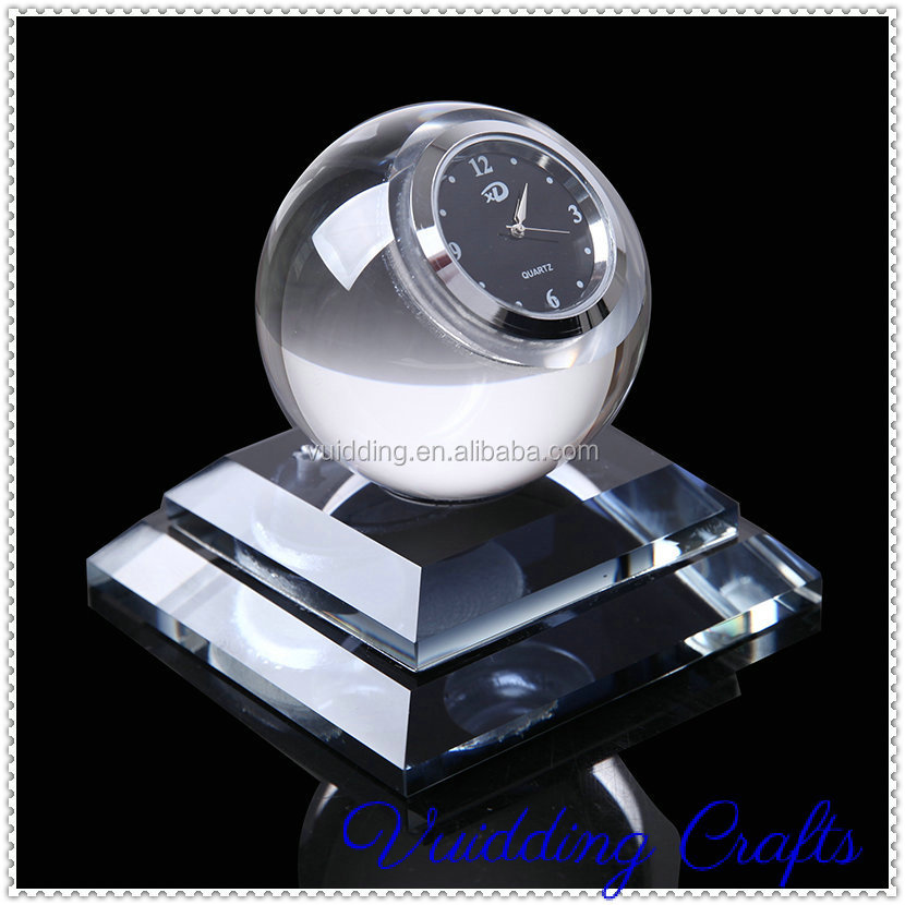 Blank Leadership Globe Crystal Clocks For Guest Gifts