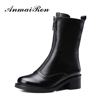 fashion leather flat heel ladies half motorcycle boots
