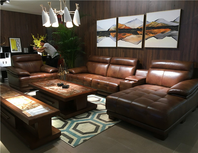 Luxury Brown Sectional Classic Wood Frame L Shaped Sofa With Corner Table  Modern Designed Leather Sofa - Buy L Shaped Sofa With Corner Table,Leather  ...