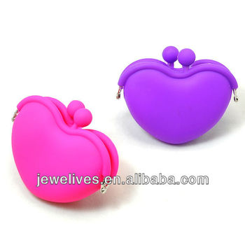 Hot selling exquisite and sweat heart shape silicone coin purse