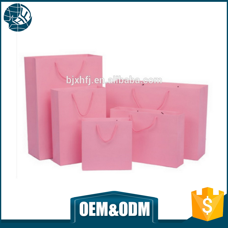 new products customized logo women clothes pink paper bags with handles