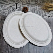 Eco Disposable Dinner Plate Oval Shape Biodegradable Wheat Straw Plate