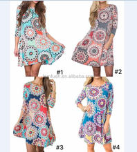 2018 Woman Spring/Autumn Geometric Printed Side Pocket Dress Above Knee Mini Dress