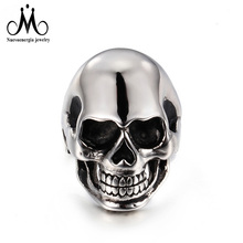 Silver Stainless Steel Hot Sale Men Punk Skull Ring Skeleton Style Jewelry