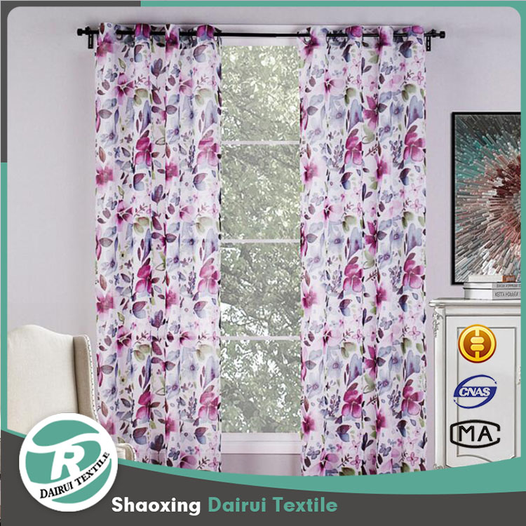 Fancy floral printed curtains for the living room with drapes