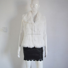 SJ096-01 Cropped Collar Women Rabbit Fur Vest Knit