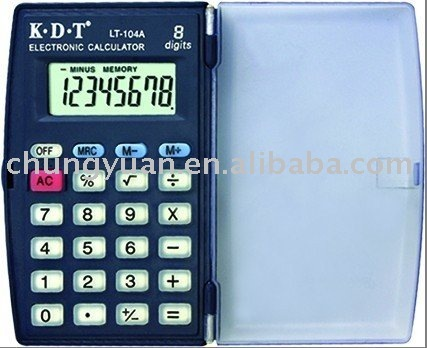 8 digits pocket calculator with cover and comfortabale rubber keys LT-104A