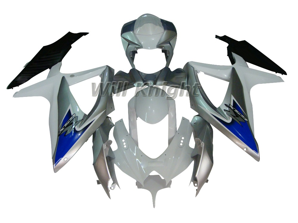 2008 2009 2010 GSXR600 750 K8 For Suzuki GSXR600 GSXR750 2008 2009 2010 Black White ABS Plastic Fairing Bodywork Set