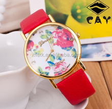 fashion colorful leather flower lady lotus watch