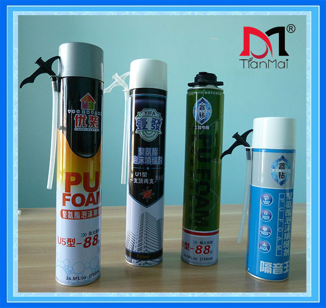 One component spray expanding polyurethane foam sealant, gun and straw construction PU foam, 750ml 500ml 300ml
