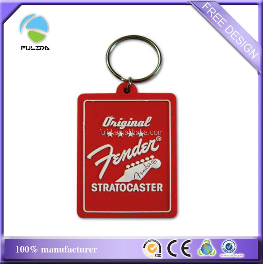 Custom Wide Rectangle Logo Soft PVC Red Rubber Big Metal Ring Small Ring Keychain