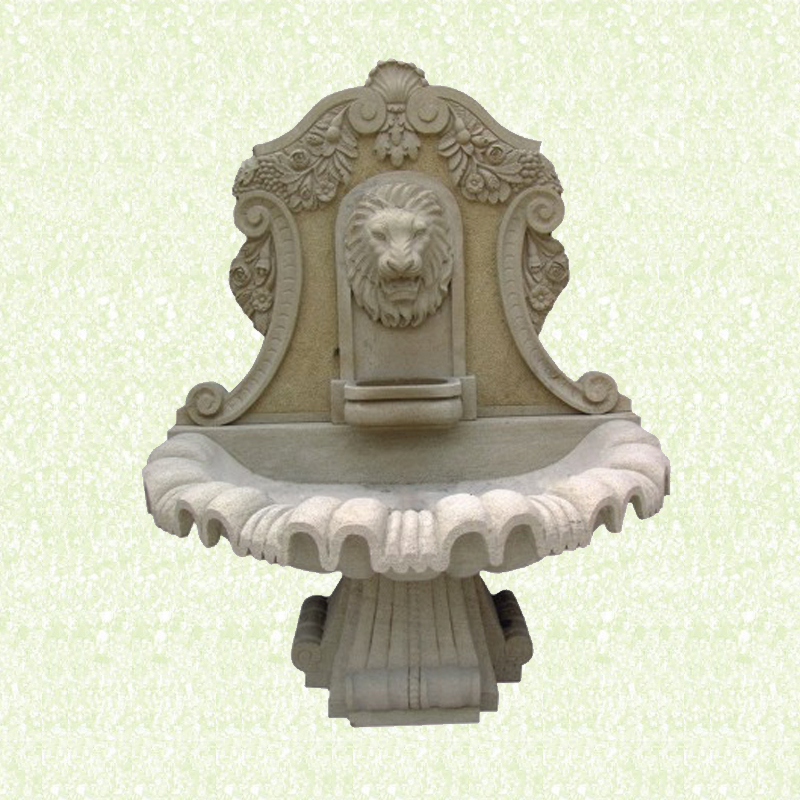 Carving waite color indoor lion head water marble stone fountain