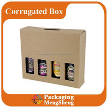 Custom corrugated wine window box for 4 bottles packaging