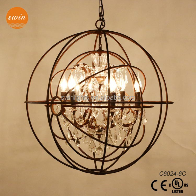art deco old rustic orb iron ring pendant light, crystal big size chandelier