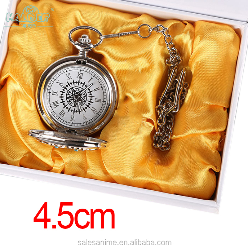 Wholesale manufacturer Latest Kuroshitsuji Black Butle men silver stainless steel Pocket Watch careful fashion new style