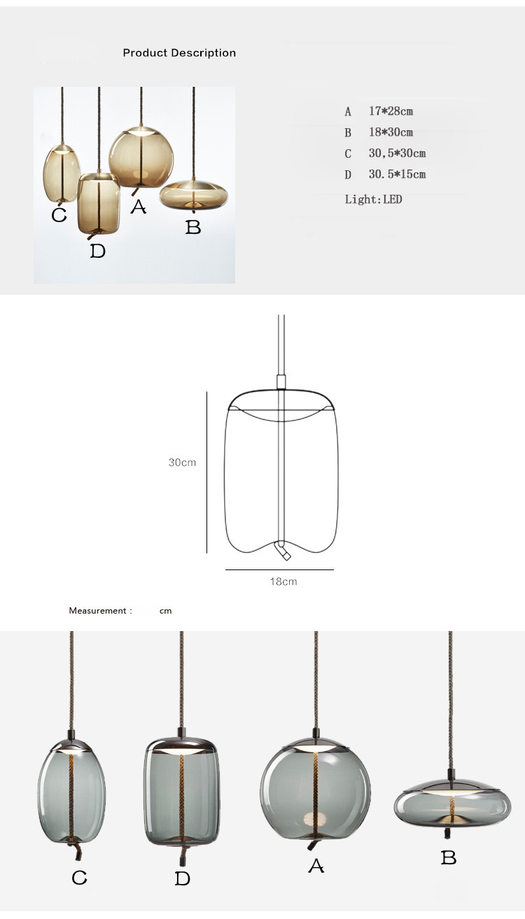 Modern glass single head can be combined restaurant bar led decorative hanging line suspension lamp