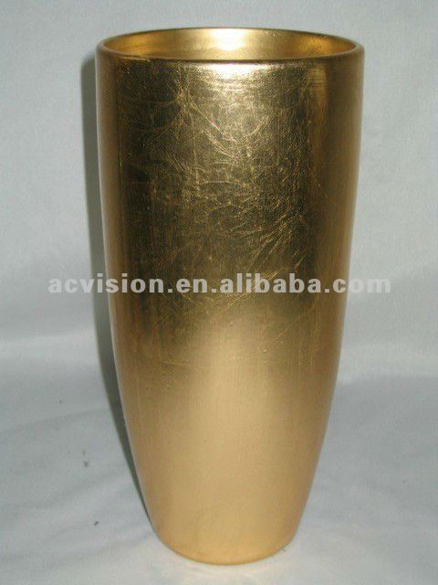 home decorations Cheap Antique gold plated ceramic flower tall vases