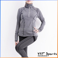 Thumb hole design Custom wholesale half zip running wear women yoga jacket