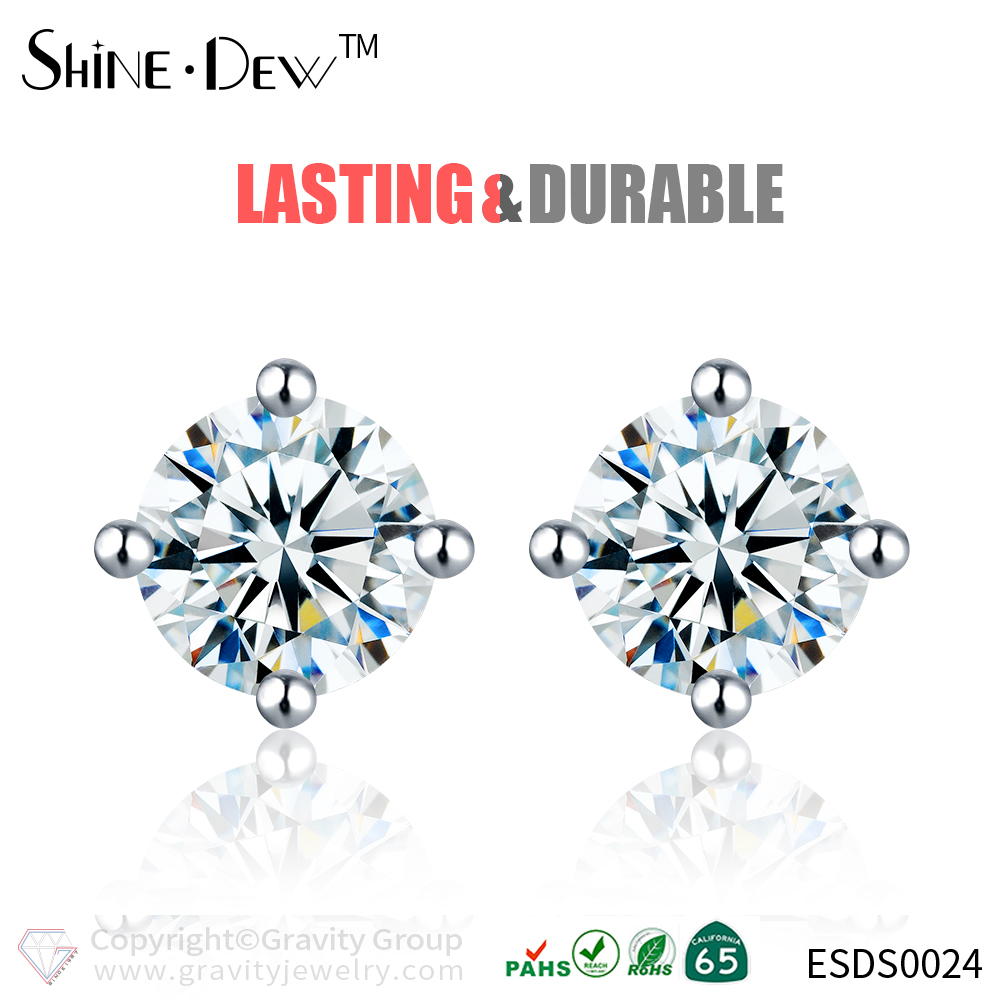 Gravity Minimalist Genuine 100% 925 Sterling Silver multicolor Wedding Jewelry Luxury stone stud earring