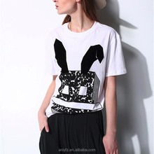 OEM service Cartoon rabbit printing round collar T-shirt short sleeves custom sport promotional Tshirt for women
