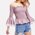Fluted Sleeve Ruffle Hem Fashion Casual Designs Korean Style Women Clothes
