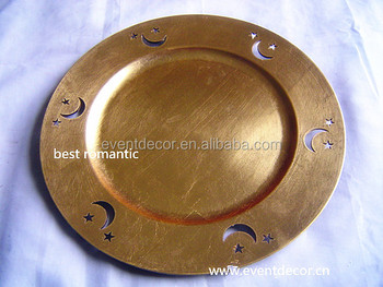 2015 Round Gold Plastic Charger Plate With Moon Star View & Plastic Gold Charger Plates - Castrophotos
