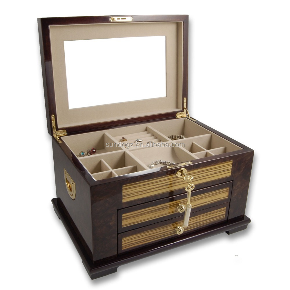 Best Quality Wooden Mirrored Jewelry Box With Drawers ...