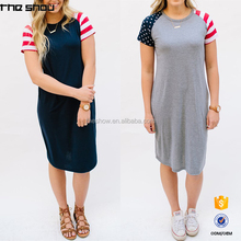 Wholesale stretchy short sleeve summer women patriotic tee dress