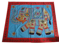 KTWH-6 Fine animal Embroidery Design Work From Jaipur Wholesaler Royal Look home decorating square wall hanging