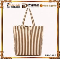 color strip canvas tote shopping bag