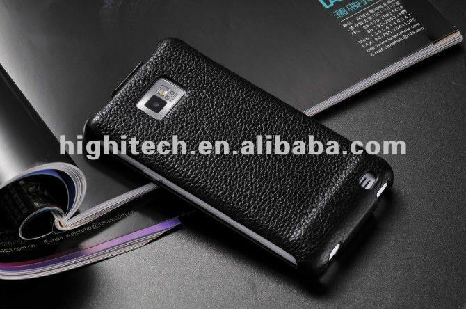 Black Genuine Leather Flip Pouch Case For Samsung GALAXY S2 II i9100