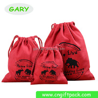 Red Faux Suede Drawstring Pouches Velvet Jewelry Bag with Logo