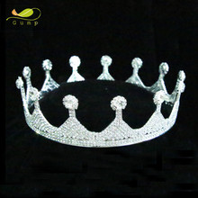 Full Round Silver Crown Clear Rhinestone Wedding Bridal Miss Pageant Party Tiara