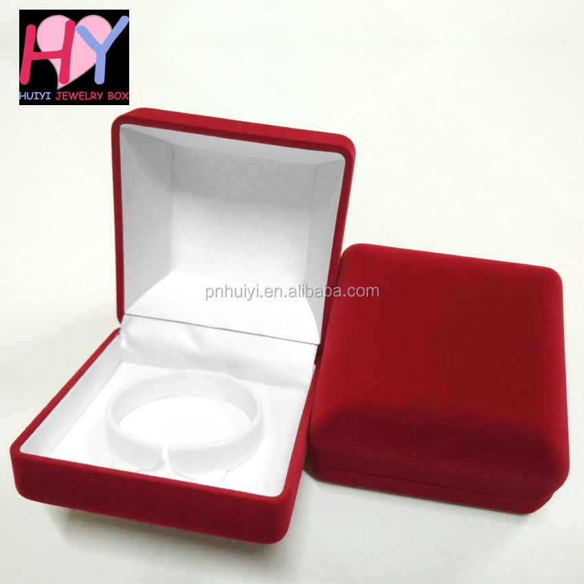 Custom design indian fancy plastic velvet bangle bracelet boxes
