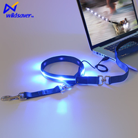 Cheapest custom logo Pet USB rechargeable nylon LED flashing dog collar