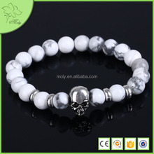 2016 Hot Fashion Men's Skull Bracelets With White Marble Beads North Skull Bracelets