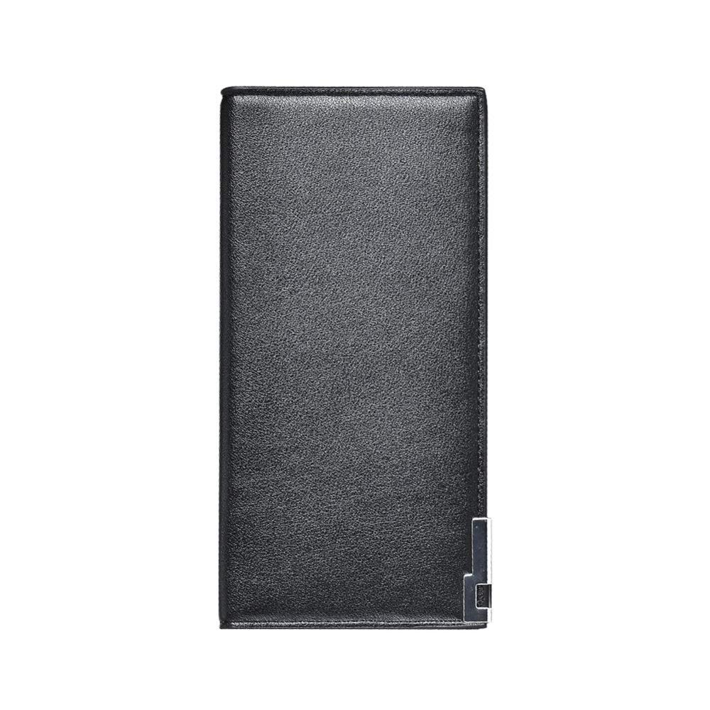 Long Leather Wallet for Men, Casual Simple Long Clutch Zip Credit Card Case Purse