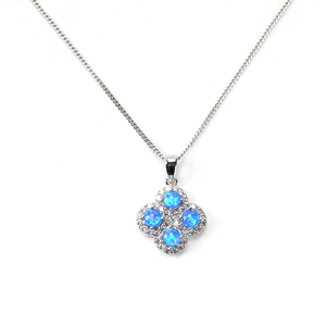 Wholesale jewelry 925 sterling silver crystal opal necklace four leaf clover pendant necklace