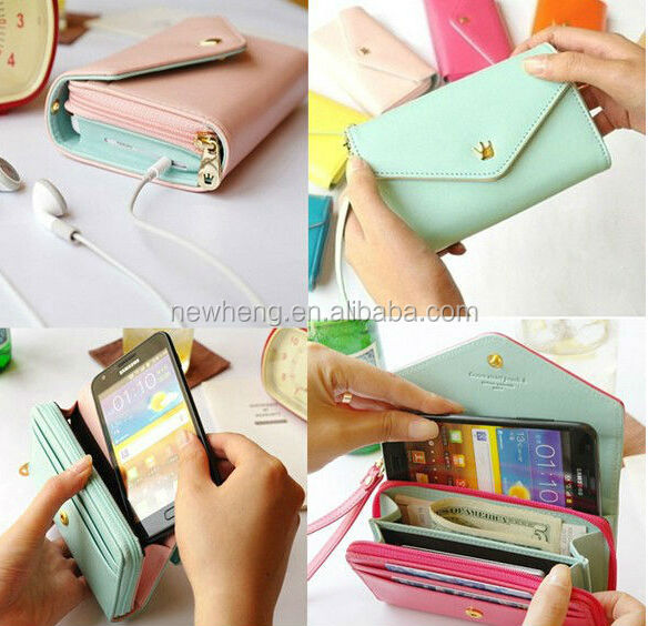 candy color crown pu leather wallet case for iphone 5